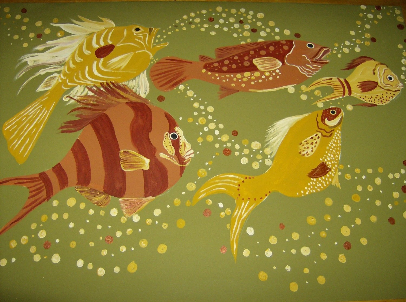 rooster kitchen rug kitchens painted orange art deco fish floorcloth / hand