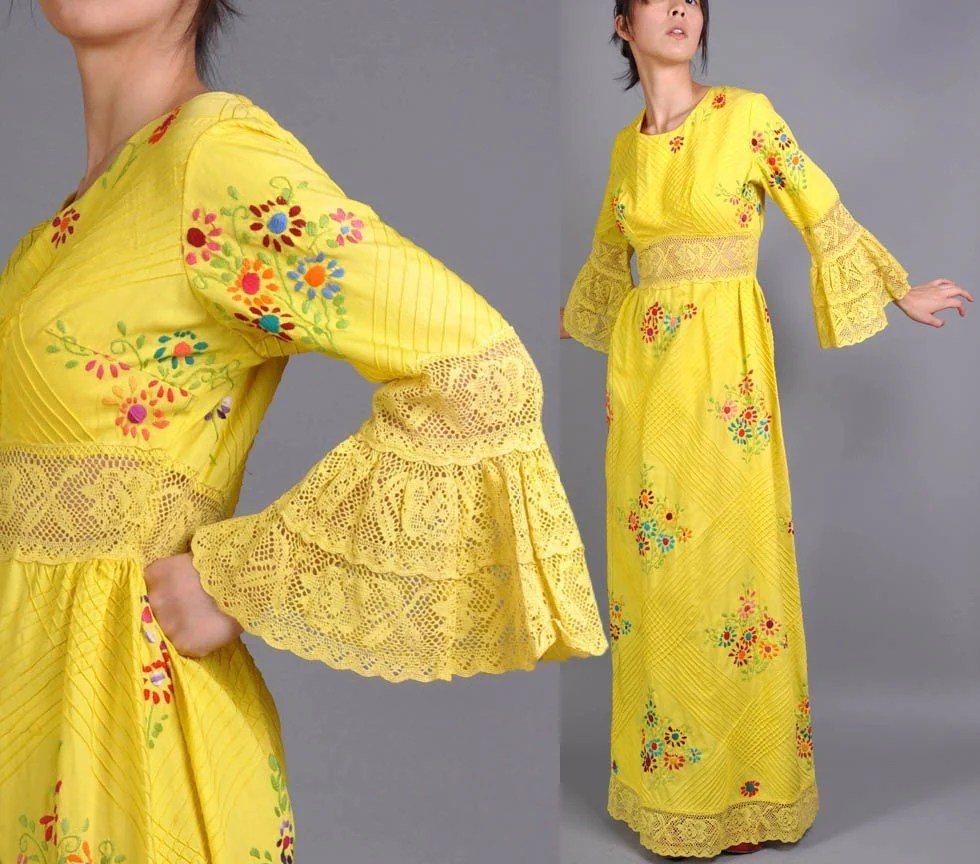 Vintage Embroidered Mexican Wedding Dress