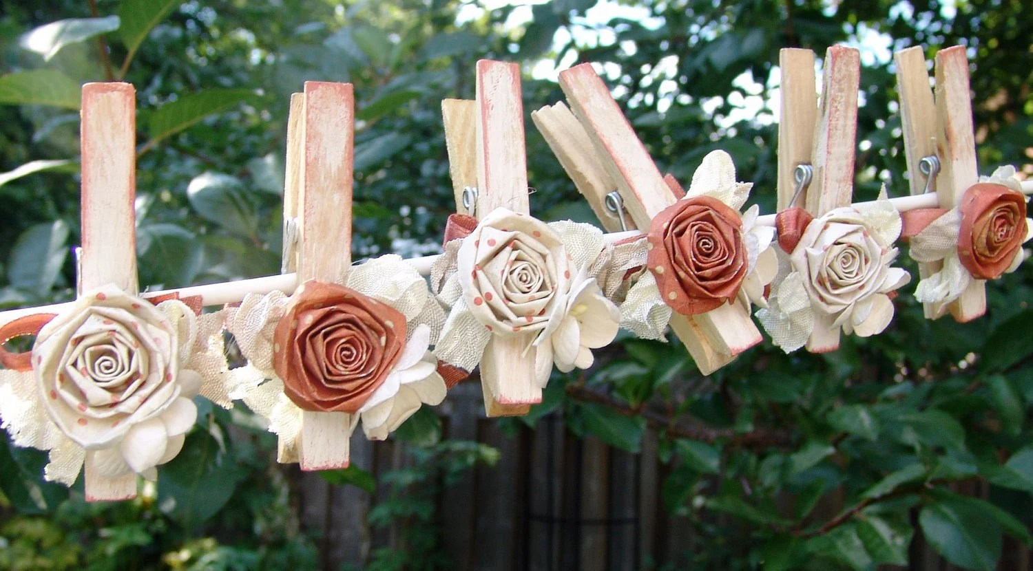 Shabby Chic Autumn Wedding Decorations Decorated Clothes Pins
