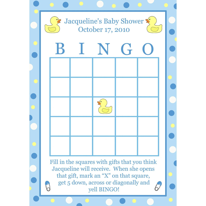 24 Baby Shower Bingo Cards Blue Rubber Ducky