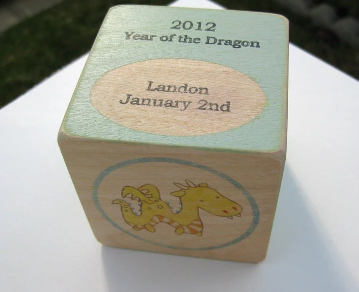 Personalized Birth Year Baby Block-2012 Year of the Dragon