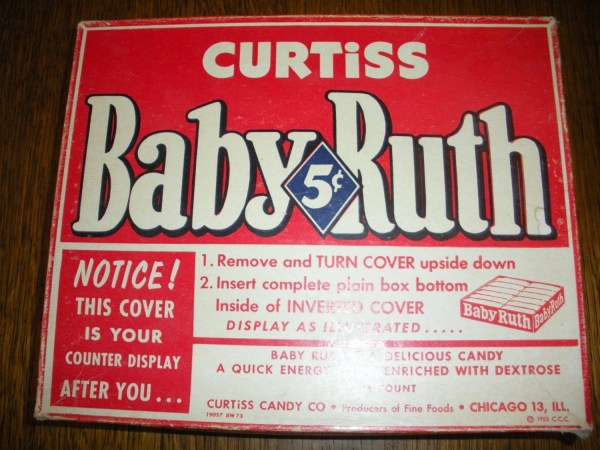 Antique Baby Ruth Candy Bar Box Vintage 1953