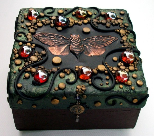Polymer Clay decorated Trinket Box with hand tooled copper