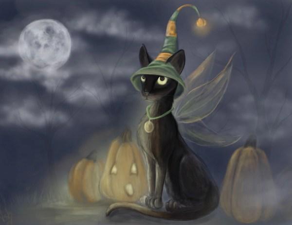 Halloween Cat Gothic Pumpkin Fantasy Fairy Art Print