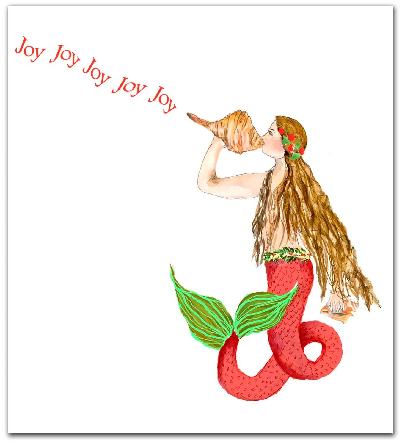 Items Similar To Mermaid Christmas Cardsnautical