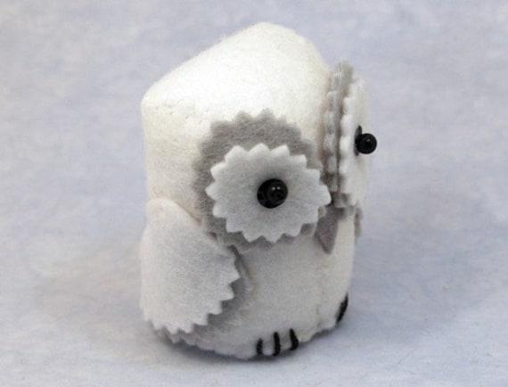 White Grey Barn Owl cute felt bird of prey ornament small woodland forest animal - Snowy the White Barn Owl - ready to ship