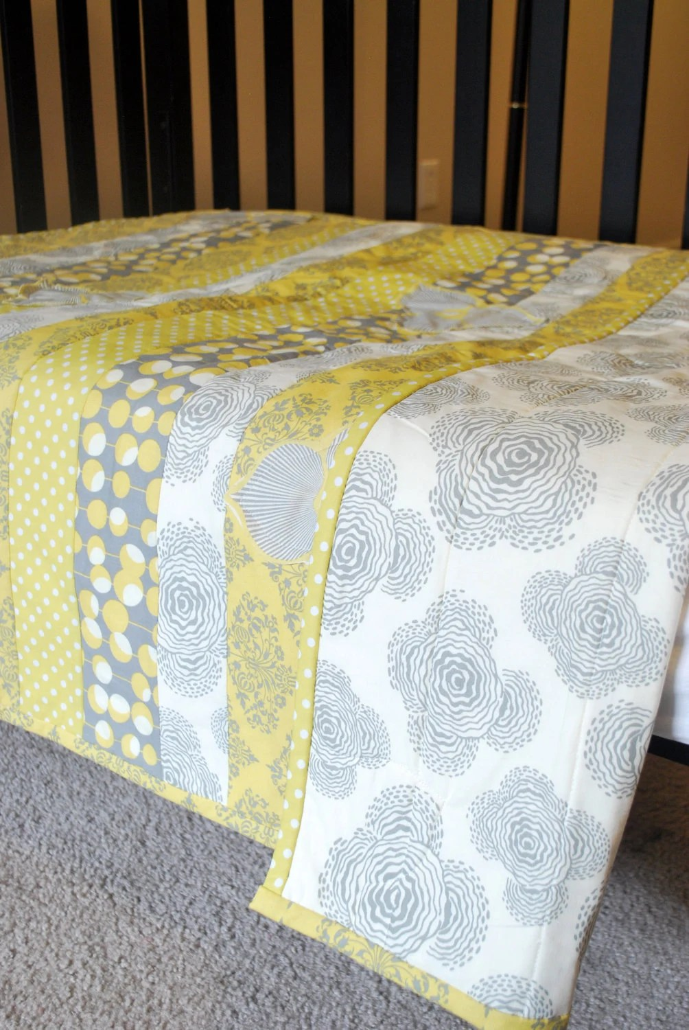 BABY QUILTSTRIPED Yellow and Grey Ready to Ship