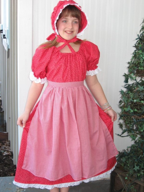 Girls Prairie Pioneer Civil War Reenactor Costume Dress Red