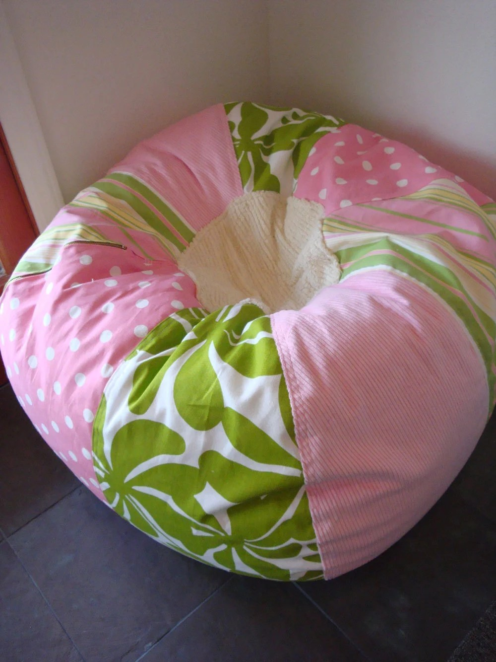 Pink and Green Girls Cottage Chic Bean Bag Chair