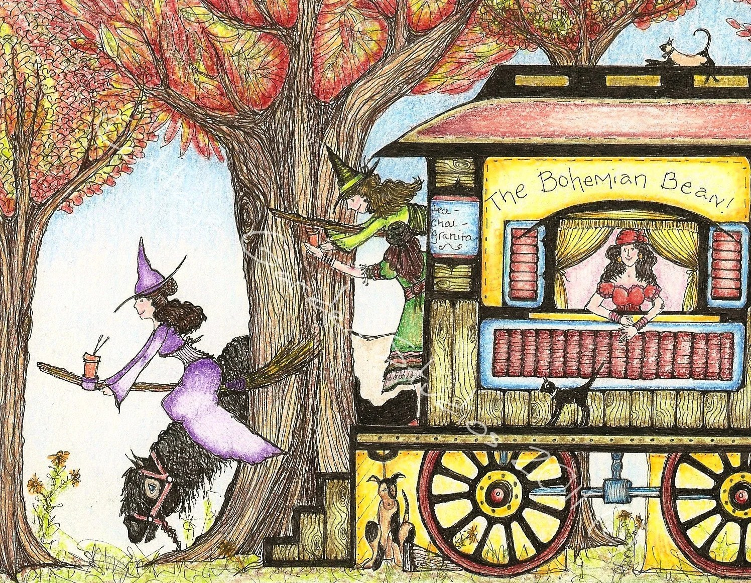 Witches Fall Wallpapers Folk Art Illustration Coffee Gypsy Witch Horse Coffee