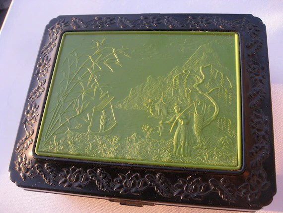 Vintage Plastic Or Celluloid Jewelry Box With By GraceParadise