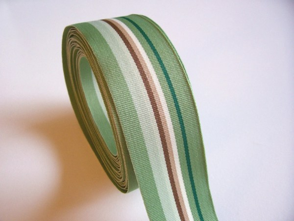 Striped Ribbon Green And Brown Stripe Grosgrain 1 2