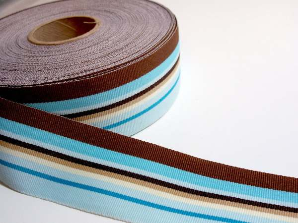 Striped Ribbon Blue And Brown Stripe Grosgrain 1 2