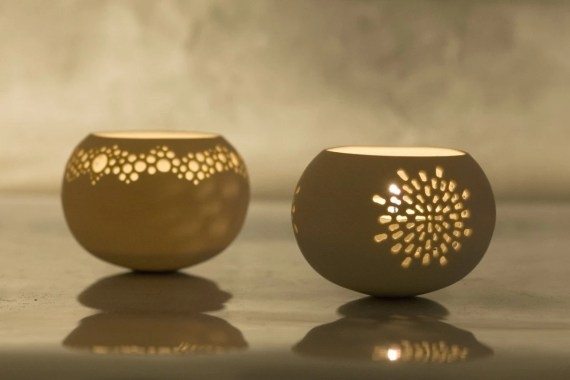 Two Porcelain Tea light Delight Candle holders. of your choice. Design by Wapa Studio. - wapa