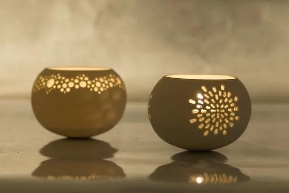 Two Porcelain Tea light Delight Candle holders. of your choice. Design by Wapa Studio. - wapa