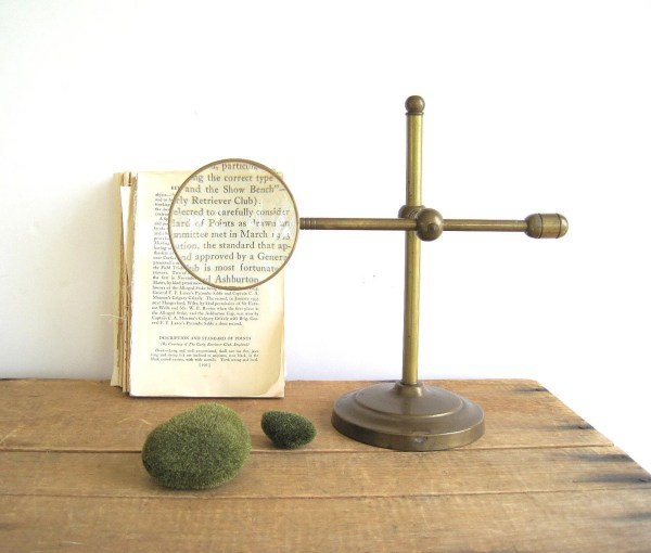 Magnifying Glass Adjustable Brass Stand Industrial