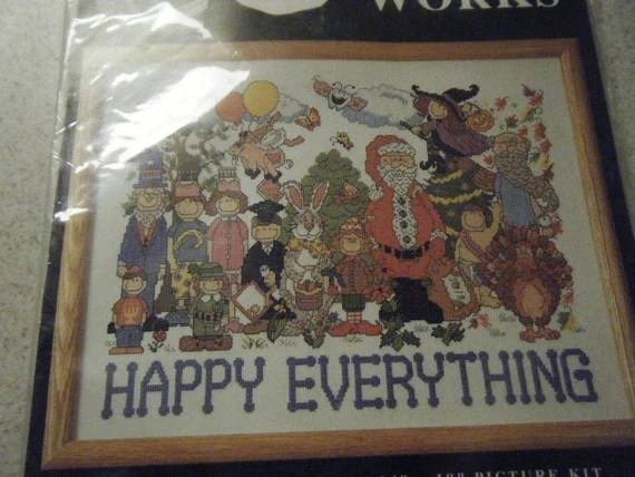 Happy Everything Counted Cross Stitch Kit By Thaliap On Etsy
