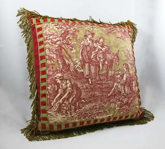 Toile Decorative Pillow Case Cranberry Red Olive by