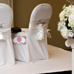 Wedding Bride And Groom Chairs Black Rattan Chair White Satin Sashes Mr Mrs