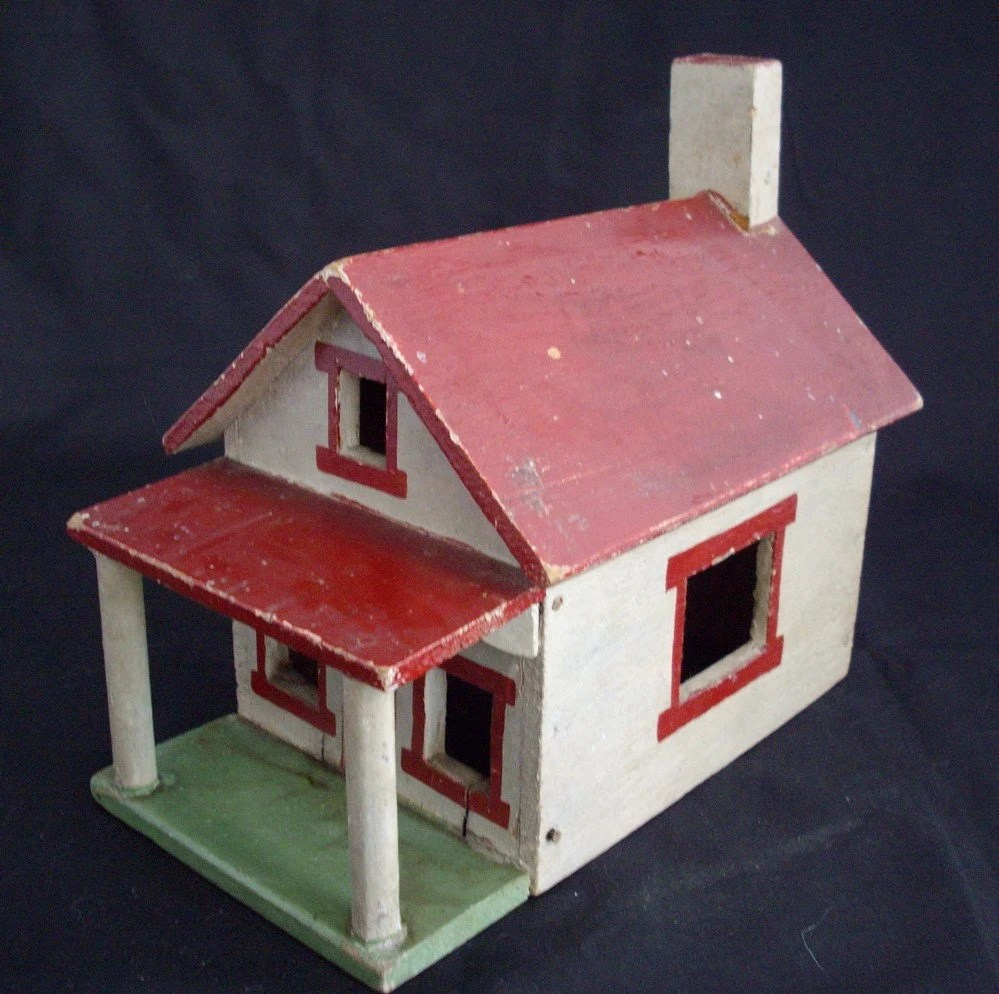 Vintage wooden folk art house white with red roof