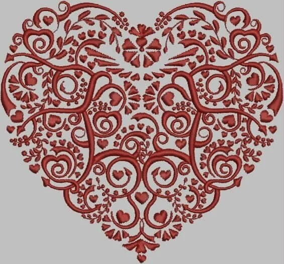 Damask Heart Embroidery Design