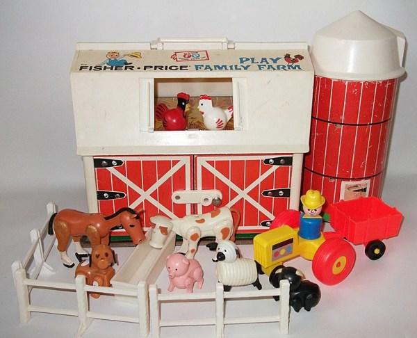Vintage Fisher Barn Farm Silo Little People