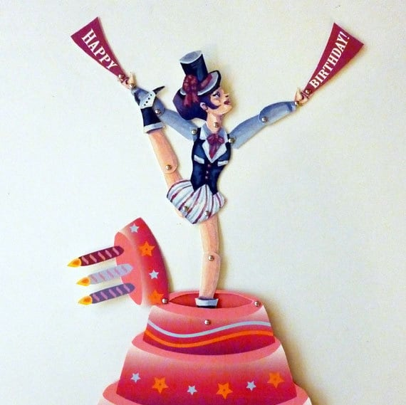 Burlesque Dancing Birthday Pop Up Card Paper Doll Doll Set