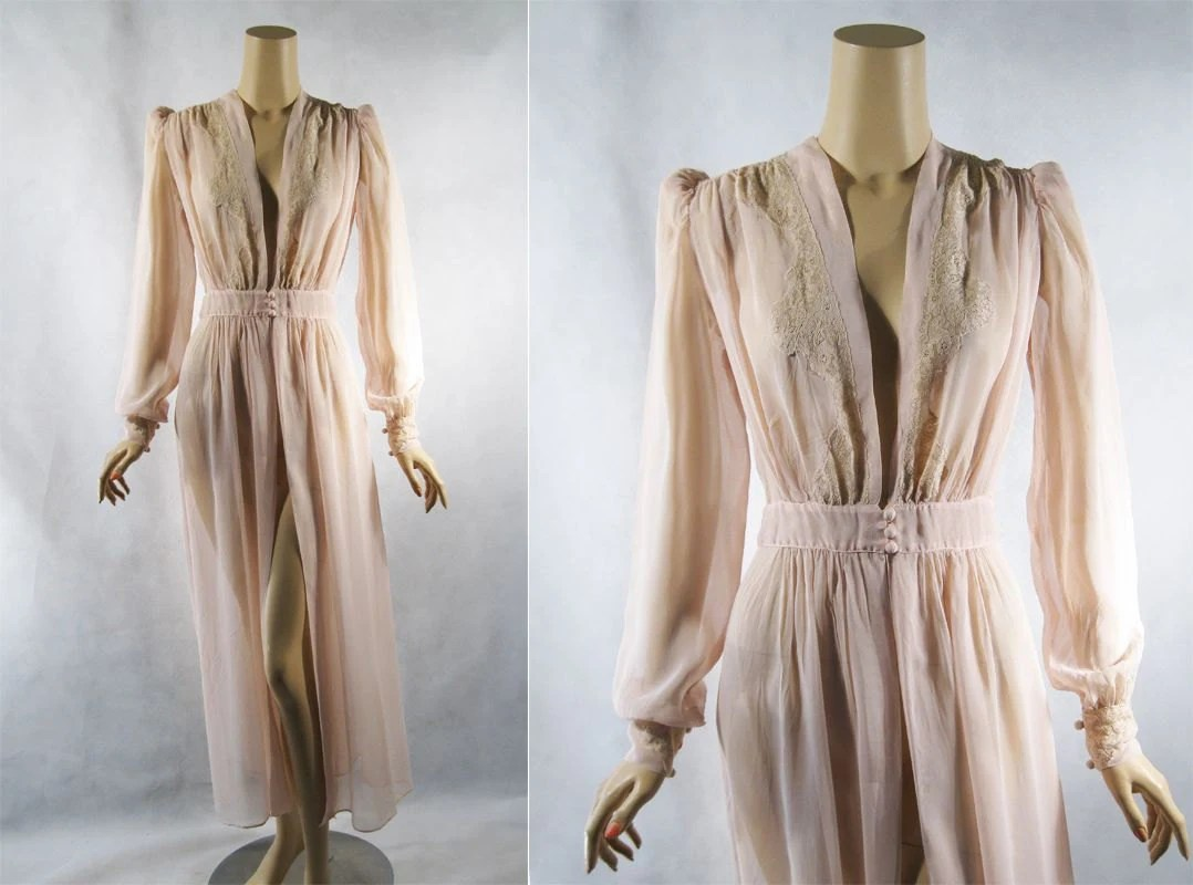 Vintage 1940s 40s Robe Sheer Voile Pink Dressing Gown Sz L B42