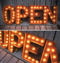 19 Tall OPEN LETTERS marquee lights with patina