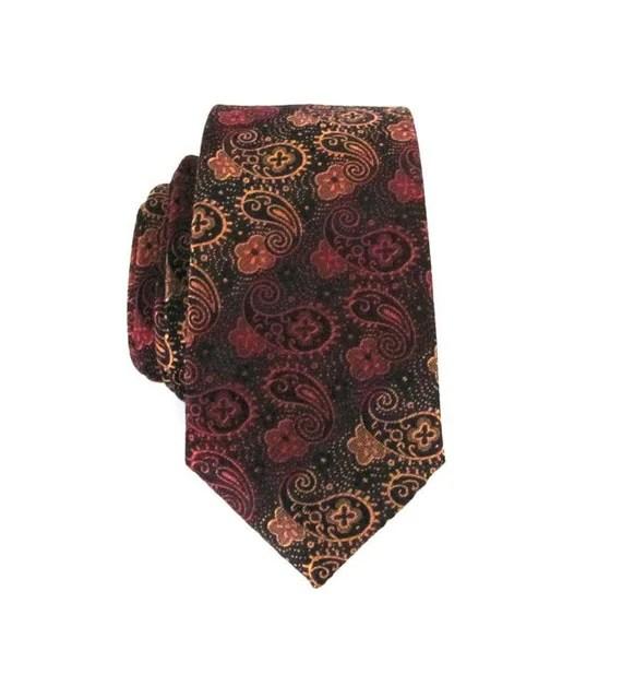Men's Tie Paisley Skinny Tie Black Gold and Red Skinny