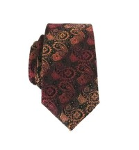 Men's Tie Paisley Skinny Tie Black Gold and Red Skinny