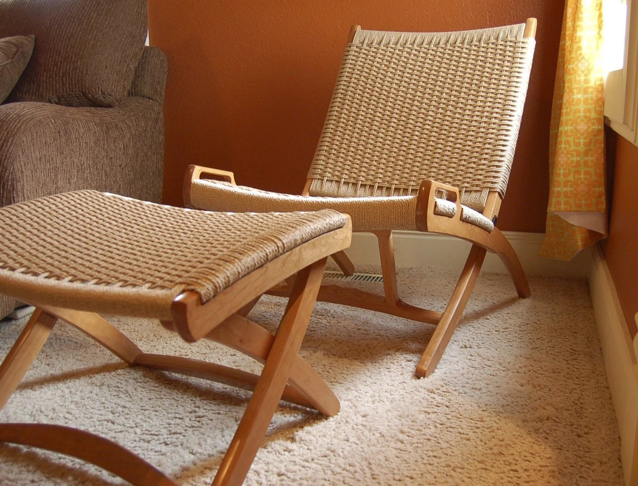 Hans Wegner Folding Chair Wegner Danish Cord Folding Chair And Ottoman