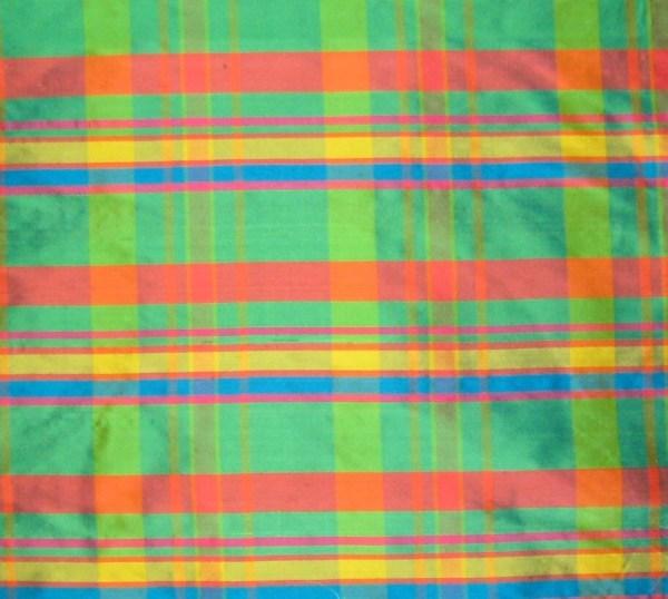 Bright Plaid Silk Dupioni Fabric Remnant