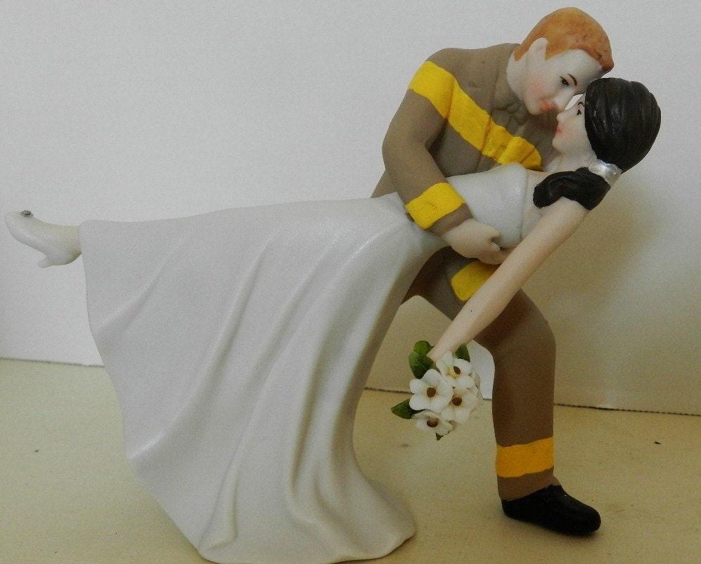 Fireman firefighter dancing bride wedding cake by CarolinaCarla