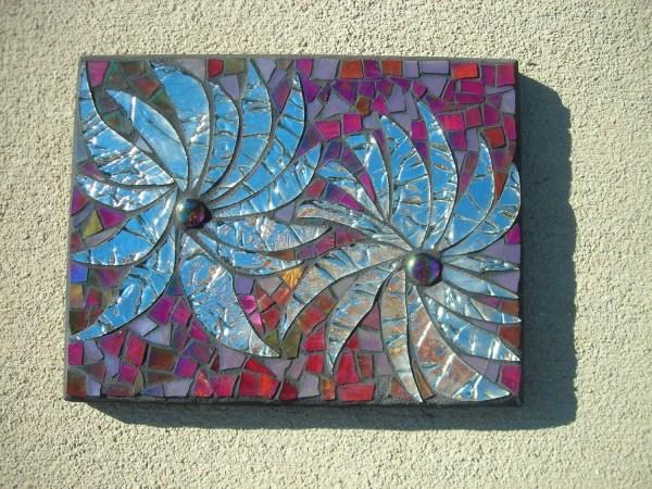 Mirrored Mosaic Flower Wall Art