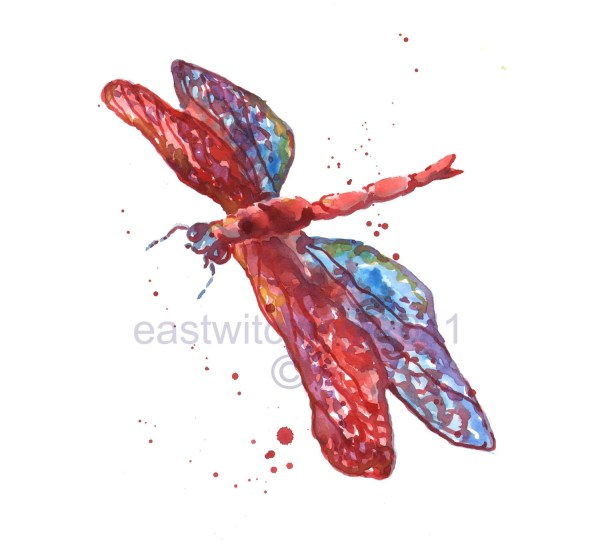Rainbow Dragonfly Print Whimsical Art
