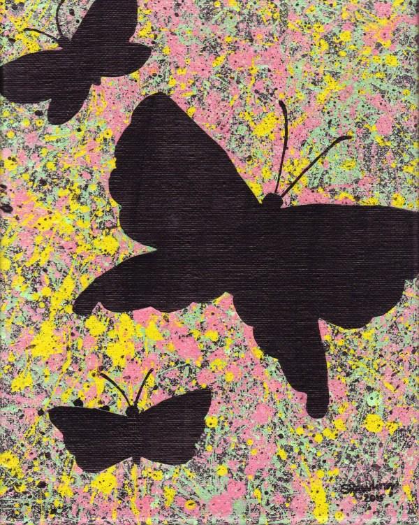 Butterflies Abstract Splatter Painting Original Acrylic