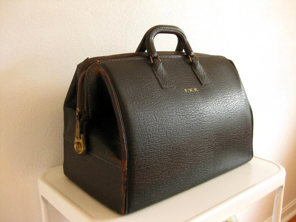 Anniversary Lovely Black Leather Gladstone Bag