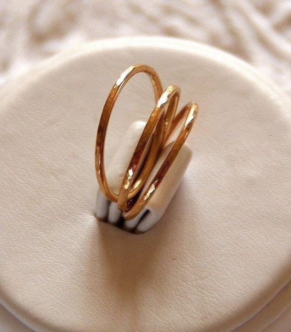 Set Of 3 14k Gold Filled Hammered Stackable Stacking Rings