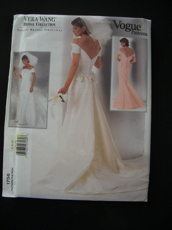 Vera Wang Wedding Gown Pattern Vogue 1756 Size 610