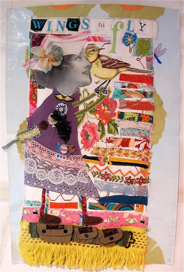 Wings Fly Fabric Collage Art Quilt Large Assemblage