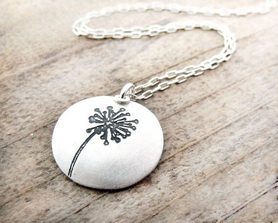 Silver Dandelion Necklace Make A Wish Dandelion Jewelry