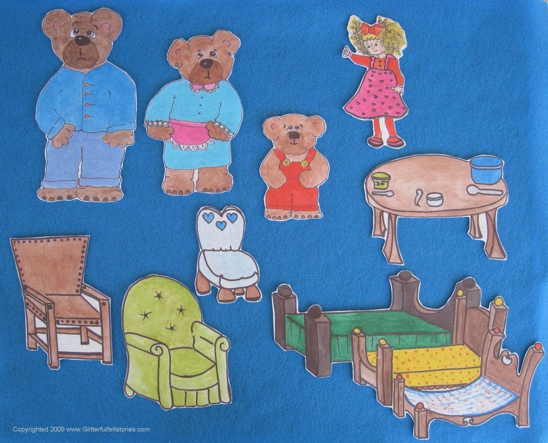 The Three Little Bears Printed Felt Board Story