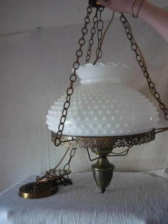 Vintage Milk Glass Chandelier White Hobnail Swag Lamp Long