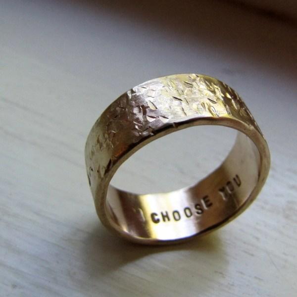Men's Wedding Band 14k Gold Unique Rustic Distressed
