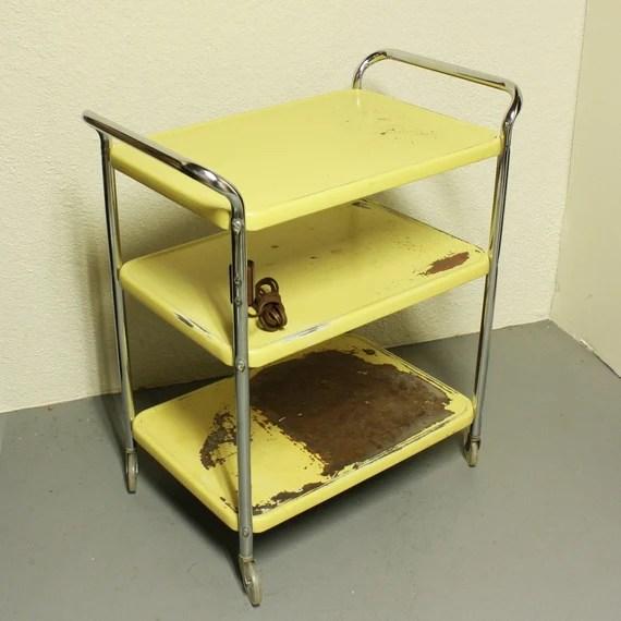 Vintage Metal Cart Serving Kitchen Cosco Yellow