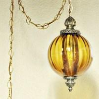 Vintage hanging light swag lamp hanging lamp amber globe