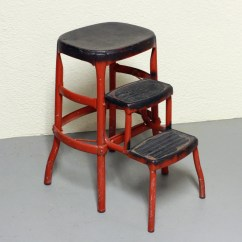 Stool Chair Red White Vintage Step Kitchen Cosco