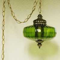 Vintage hanging light hanging lamp green globe chain