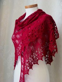 Red wool lace knitted shawl skirt or top with crochet lace
